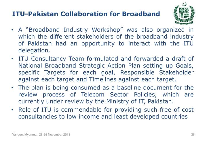 ITU-Pakistan Collaboration for Broadband