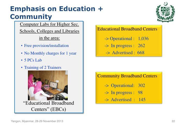 Emphasis on Education + Community