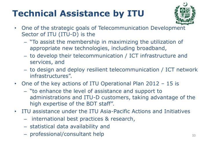 Technical Assistance by ITU