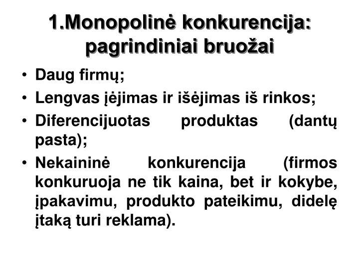 1.Monopolinė konkurencija: pagrindiniai bruožai