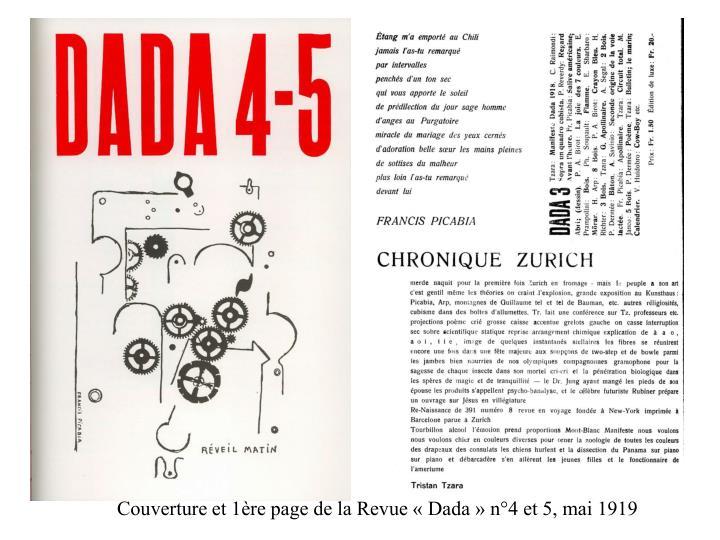 Couverture et 1ère page de la Revue «Dada» n°4 et 5, mai 1919