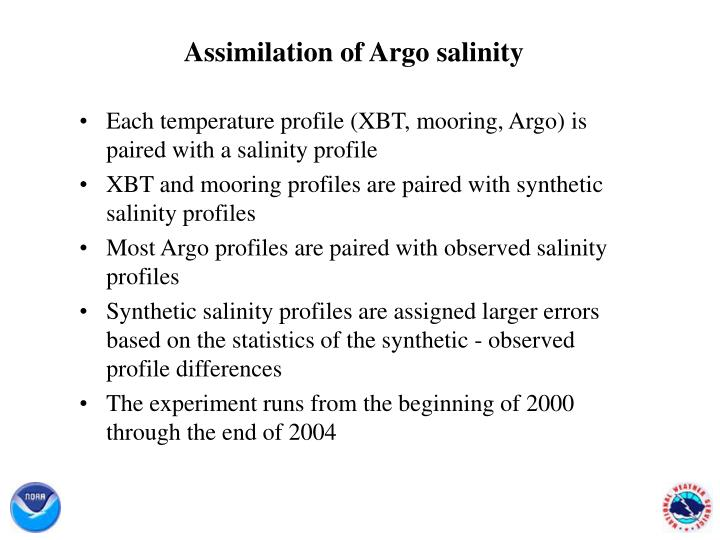 Assimilation of Argo salinity