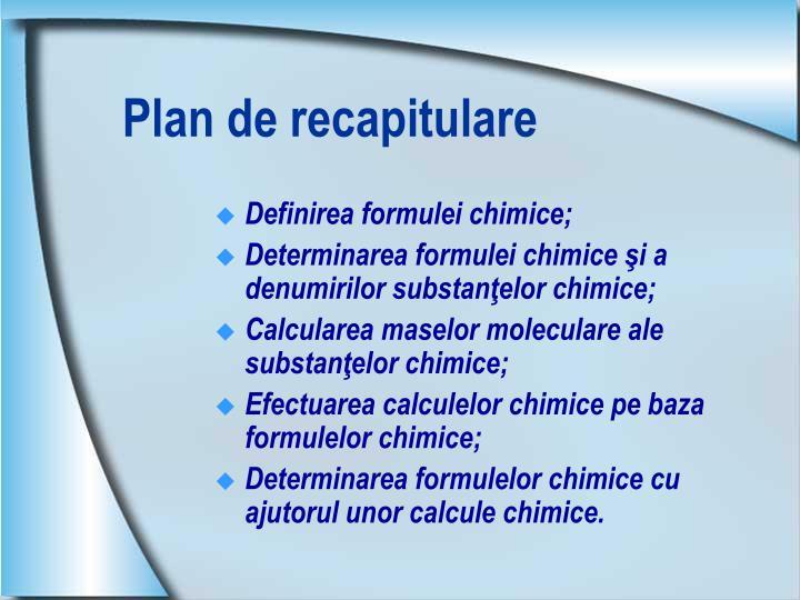Plan de recapitulare
