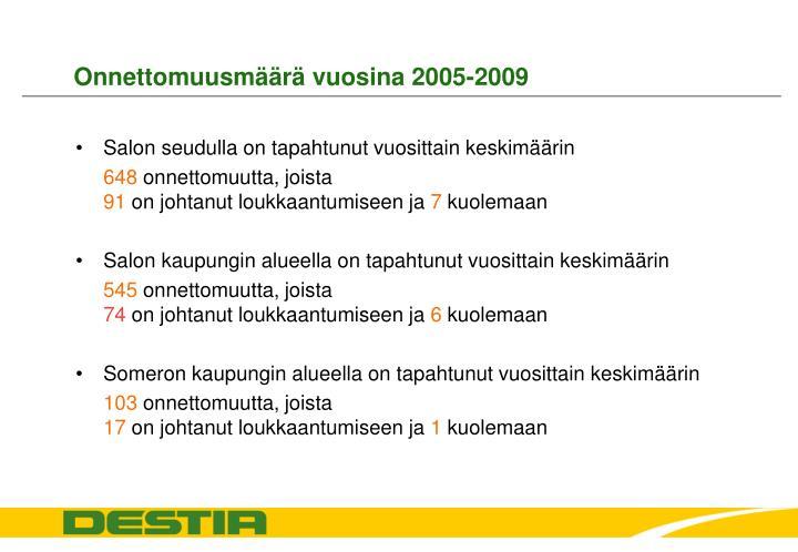 Onnettomuusmäärä vuosina 2005-2009