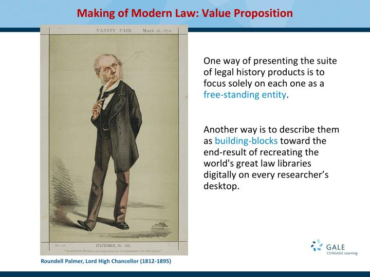 One way of presenting the suite of legal history products is to focus solely on each one as a