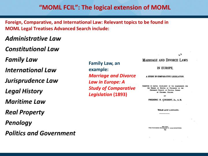 Foreign, Comparative, and International Law: Relevant topics to be found in MOML Legal Treatises Advanced Search