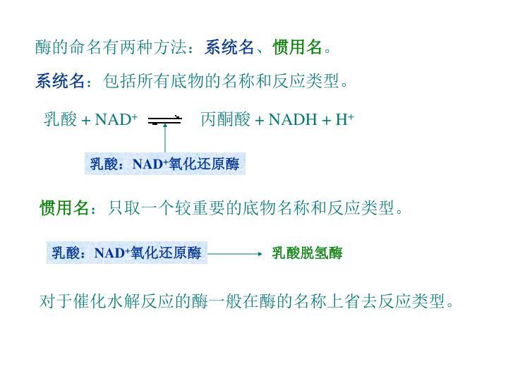 酶的命名有两种方法: