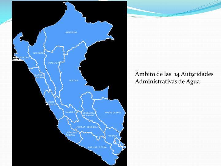 Ámbito de las  14 Aut9ridades Administrativas de Agua