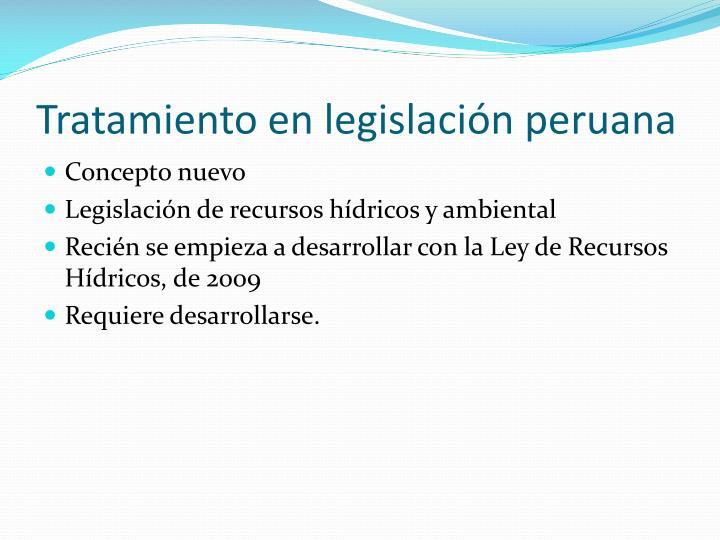 Tratamiento en legislación peruana