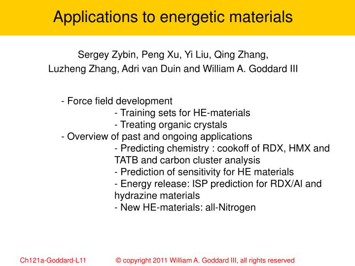 Applications to energetic materials