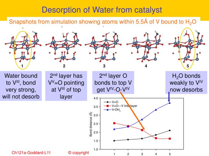 Desorption of Water from catalyst