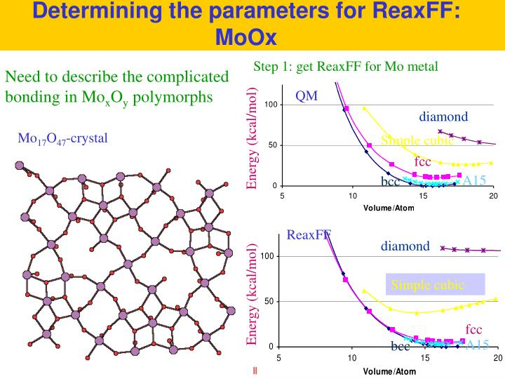 Determining the parameters for ReaxFF: MoOx