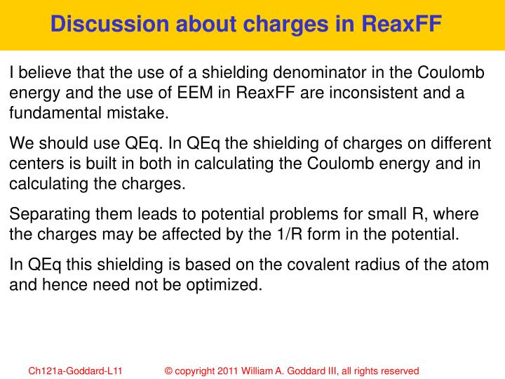Discussion about charges in ReaxFF