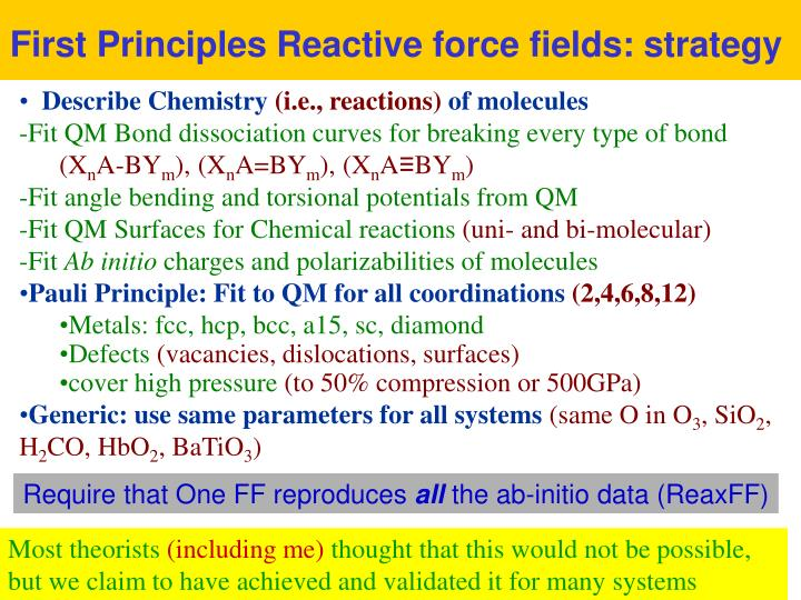 First Principles Reactive force fields: strategy