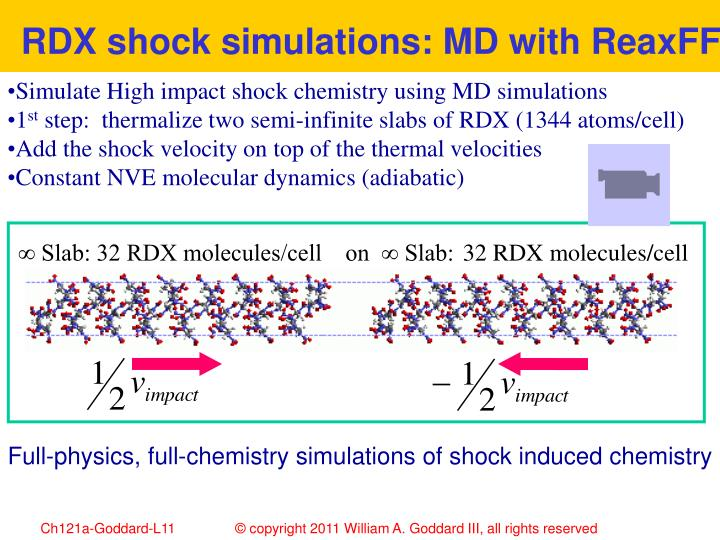 RDX shock simulations: MD with ReaxFF
