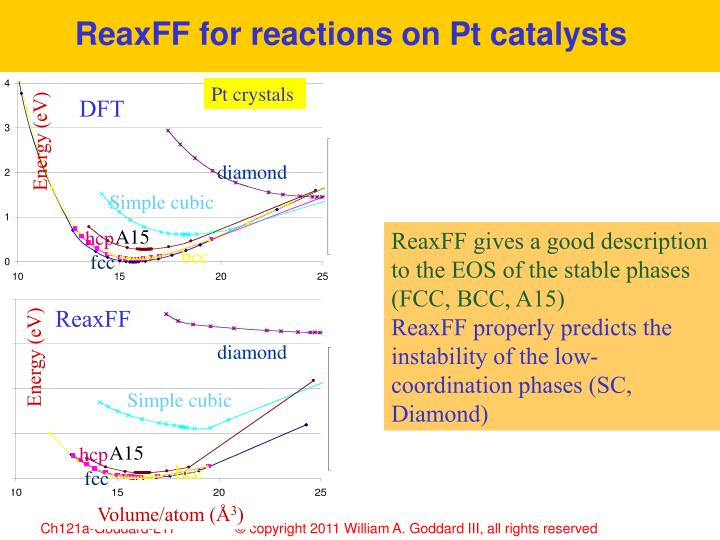 ReaxFF for reactions on Pt catalysts