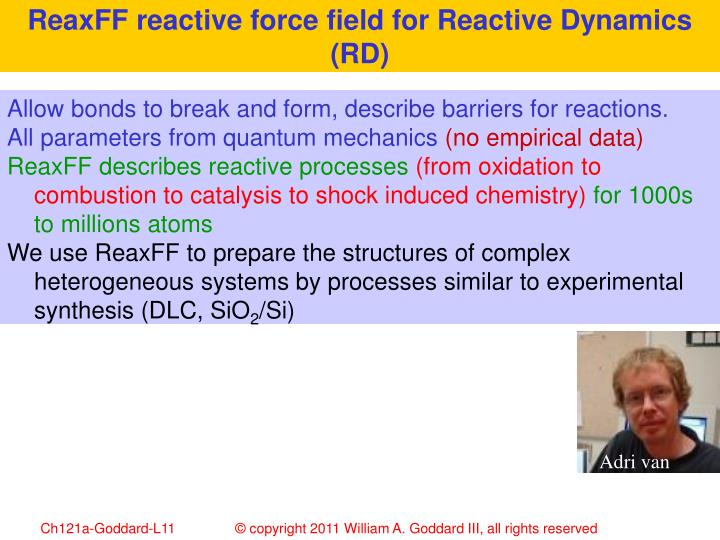 ReaxFF reactive force field for Reactive Dynamics (RD)
