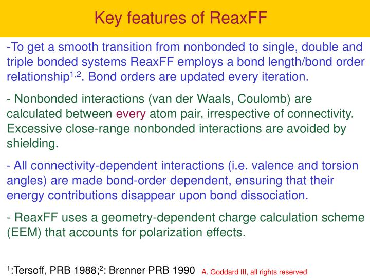 Key features of ReaxFF