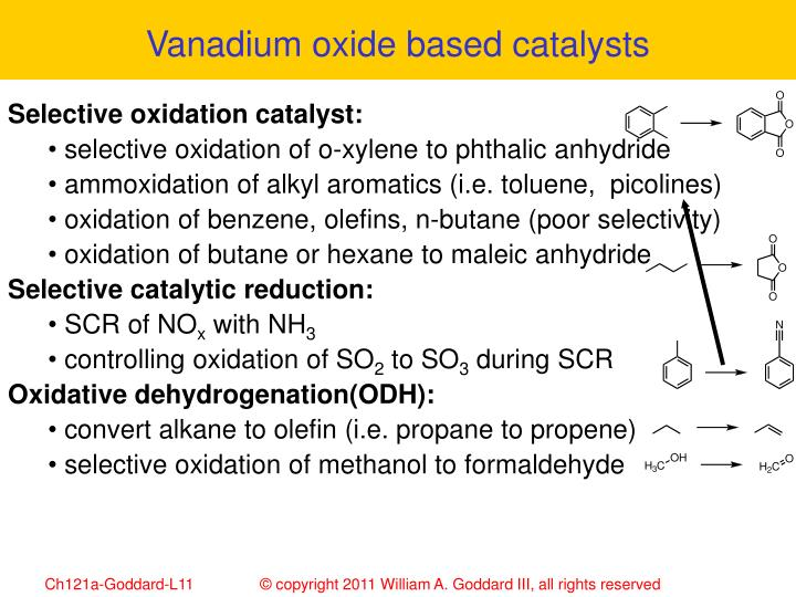 Vanadium oxide based catalysts