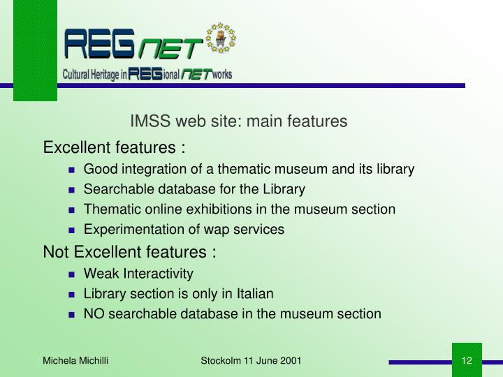 IMSS web site: main features