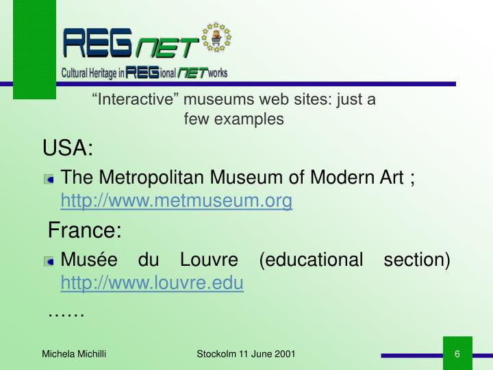 """""""Interactive"""" museums web sites: just a few examples"""