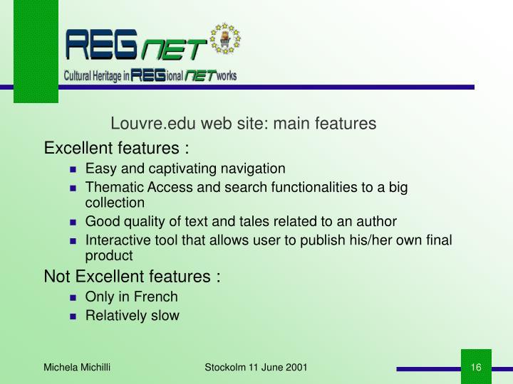 Louvre.edu web site: main features