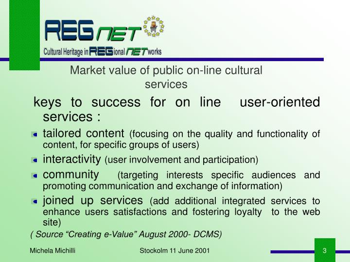 Market value of public on-line cultural services