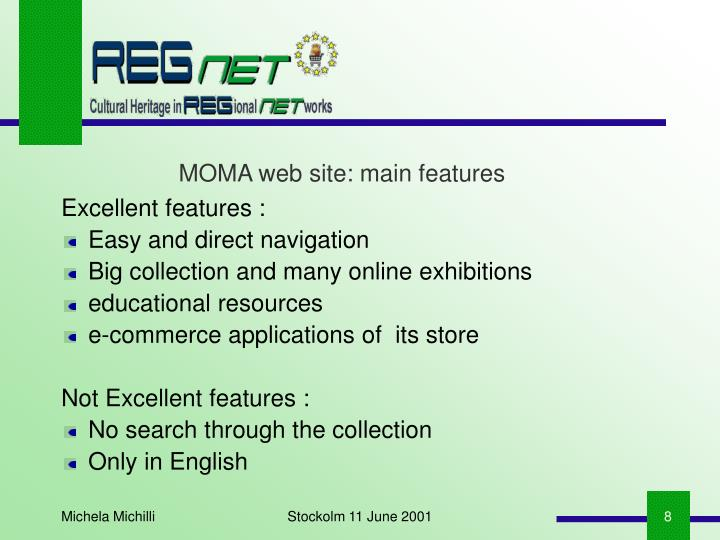 MOMA web site: main features