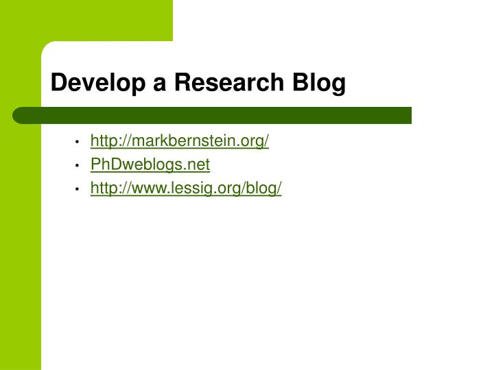Develop a Research Blog