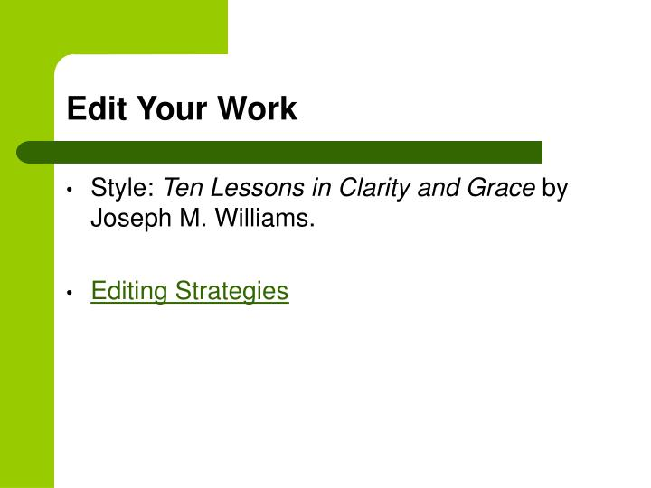 Edit Your Work