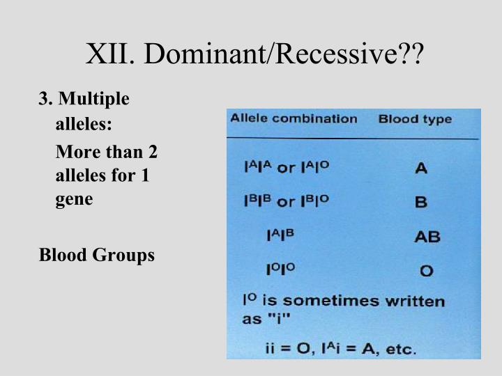 XII. Dominant/Recessive??