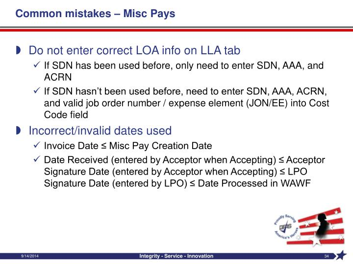Common mistakes – Misc Pays