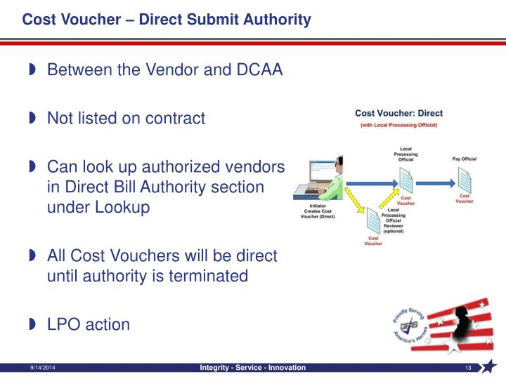 Cost Voucher – Direct Submit Authority