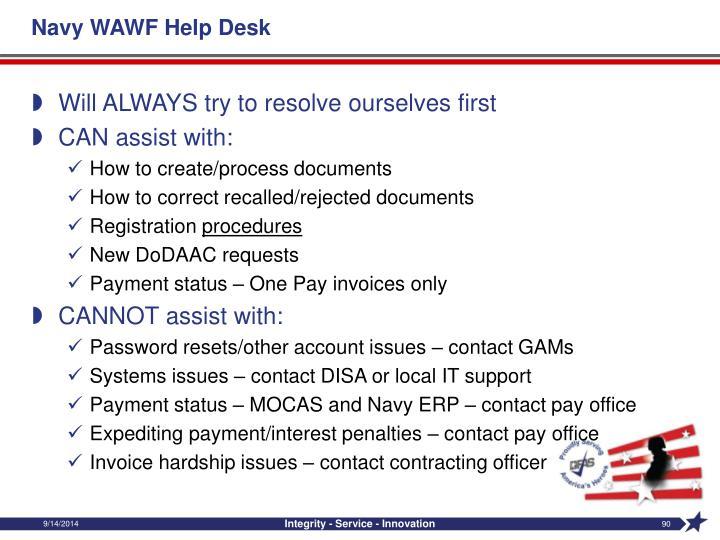 Navy WAWF Help Desk