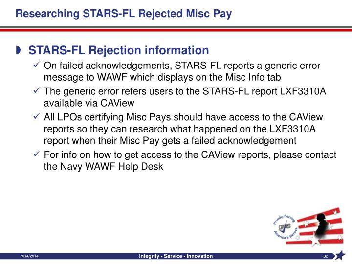 Researching STARS-FL Rejected Misc Pay