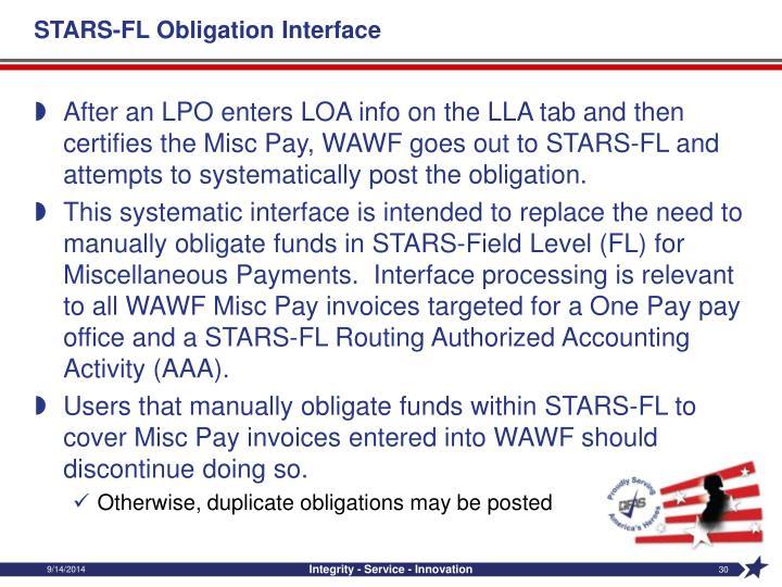 STARS-FL Obligation Interface