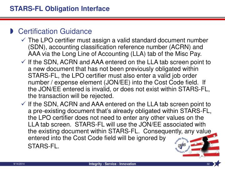 STARS-FL Obligation Interface