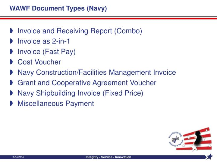 WAWF Document Types (Navy)