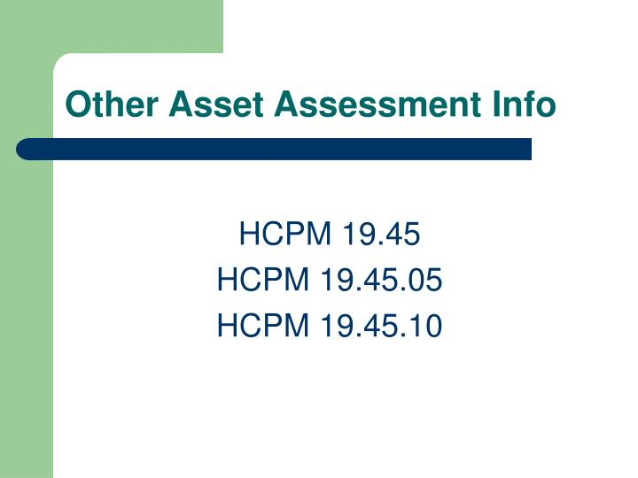 Other Asset Assessment Info