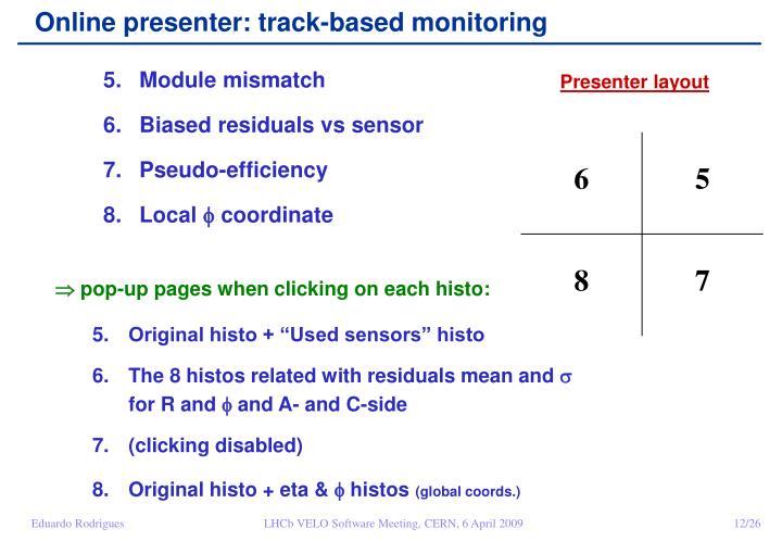 Online presenter: track-based monitoring