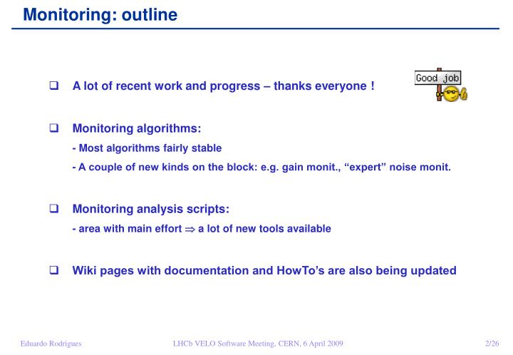 Monitoring: outline