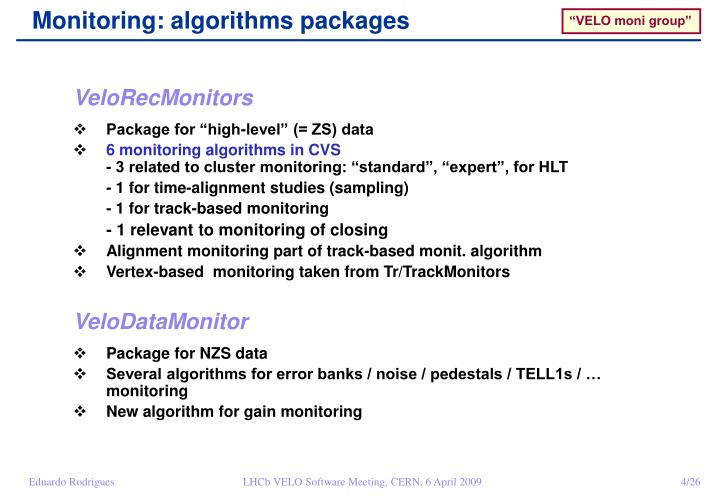 Monitoring: algorithms packages