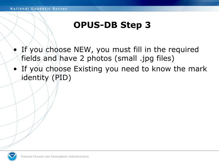 OPUS-DB Step 3