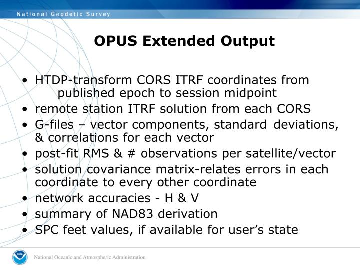 OPUS Extended Output