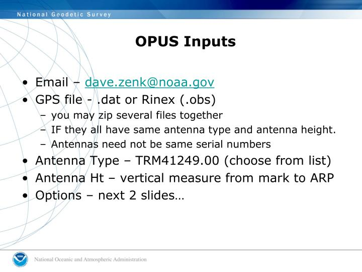 OPUS Inputs