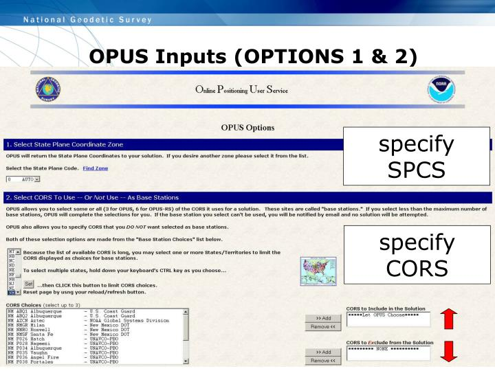 OPUS Inputs (OPTIONS 1 & 2)