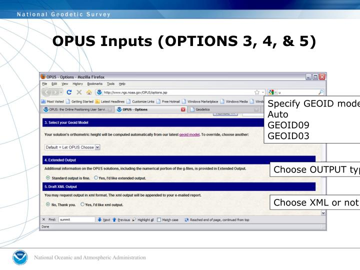 OPUS Inputs (OPTIONS 3, 4, & 5)