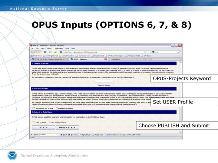 OPUS Inputs (OPTIONS 6, 7, & 8)