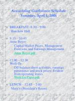 accounting conference schedule saturday april 1 2006