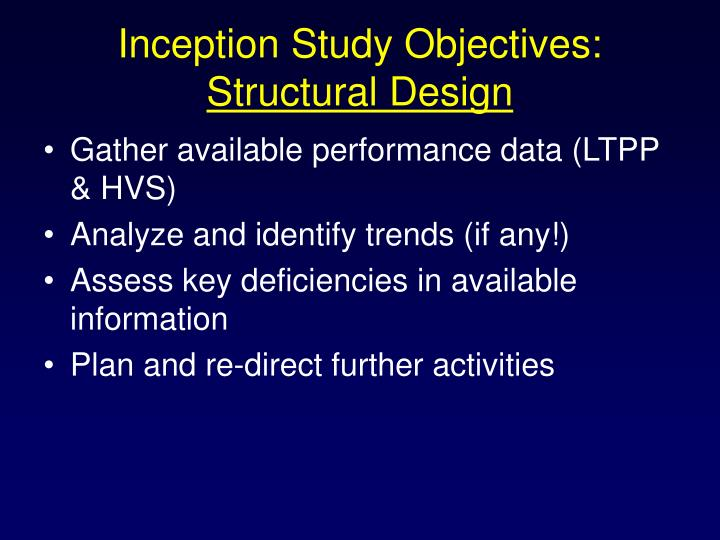 Inception Study Objectives: